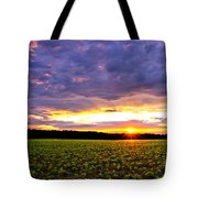 Sunset Over Farmland Tote Bag