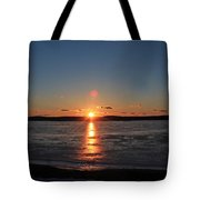 Sunset Over Frozen Wachusett Reservoir 2 Tote Bag