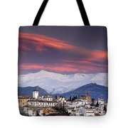 Sunset Over Granada And The Alhambra Castle Tote Bag