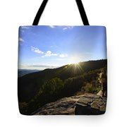 Sunset Over Halloween Decorations On Black Rock Mountain Tote Bag
