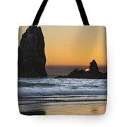 Sunset Over Haystack Needles Rocks Tote Bag