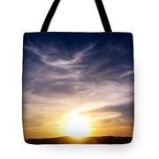 Sunset Over Hills With Clouds Tote Bag