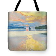 Sunset Over Lake Ruovesi Tote Bag