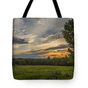 Sunset Over Lupine Fields Tote Bag