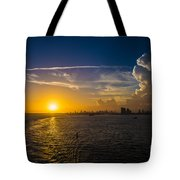 Sunset Over Miami From Out At Sea Tote Bag