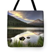 Sunset Over Mount Hood At Trillium Lake Tote Bag