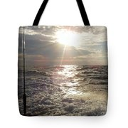 Sunset Over Nj After Fishing Tote Bag