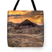 Sunset Over Painted Hills In Oregon Tote Bag