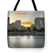 Sunset Over Portland Downtown Skyline Tote Bag