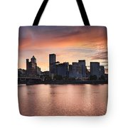 Sunset Over Portland Oregon Waterfront Panorama Tote Bag