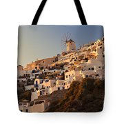 Sunset Over Santorini Village Tote Bag