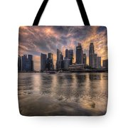 Sunset Over Singapore Skyline Tote Bag