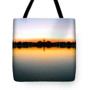 Sunset Over Still Waters Mirror Image Tote Bag