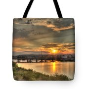 Sunset Over The Great Falls Tote Bag