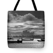 Sunset Over The Gulf Of Thailand Black And White Tote Bag