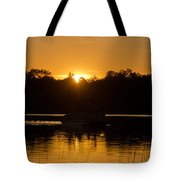 Sunset Over The Pontoon Tote Bag