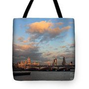 Sunset Over The River Thames London Tote Bag