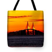 Sunset Over The Skyway Bridge Crop Tote Bag