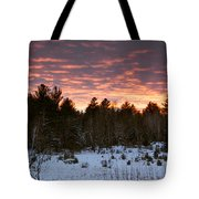Sunset Over The Winter Forest Tote Bag