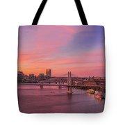 Sunset Over Tilikum Crossing Tote Bag