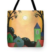 Sunset Over Town Tote Bag