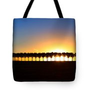 Sunset Over Tree Lined Road Tote Bag