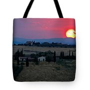 Sunset Over Tuscany In Italy Tote Bag