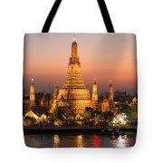 Sunset Over Wat Arun Temple - Bangkok Tote Bag