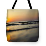 Sunset Over Waves Tote Bag