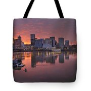 Sunset Over Willamette River Along Portland Waterfront Tote Bag