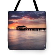 Sunset Pier Tote Bag by Mike  Dawson