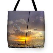 Sunset Sailboat Vertical Tote Bag