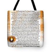 Sunset Serenity Desiderata Poster Tote Bag
