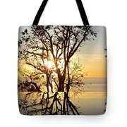 Sunset Silhouette And Reflections Tote Bag