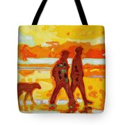 Sunset Silhouette Carmel Beach With Dog Tote Bag