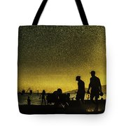 Sunset Silhouette Of People At The Beach Tote Bag