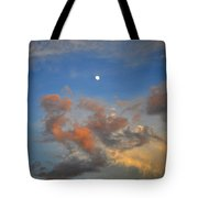 Sunset Sky With Gibbous Moon And Clouds Usa Tote Bag