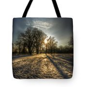 Sunset Snow Trees Tote Bag