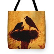 Sunset Stork Family Silhouettes Tote Bag