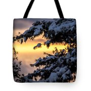 Sunset Through The Snowy Branches Tote Bag