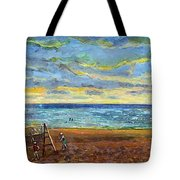 Sunset Volleyball At Old Silver Beach Tote Bag