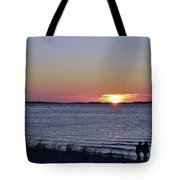 Sunset Walk Along The Beach Tote Bag