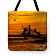 Sunset Water Football Tote Bag