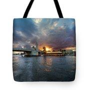 Sunset Waterway Panorama Tote Bag