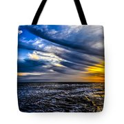 Sunset With Blue Sky Tote Bag