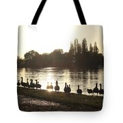 Sunset With Geese On The Thames Tote Bag