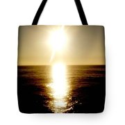 Sunset With Its Golden White Tote Bag