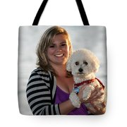 Sunset With Young American Woman And Poodle Tote Bag