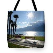 Sunshine Over A Lake Front Tote Bag