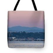 Super Moon And Sailing Panorama Tote Bag